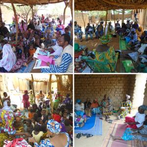 Multitud de mujeres y niños