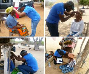 Oftalmólogos en la calle revisando la visión a gente