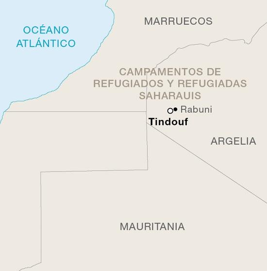 Mapa de los campamentos de refugiados saharauis