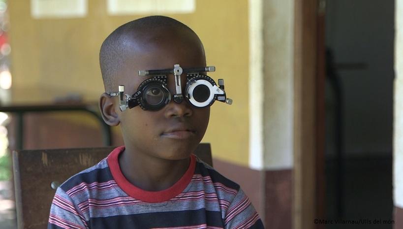 Boy's eye testing