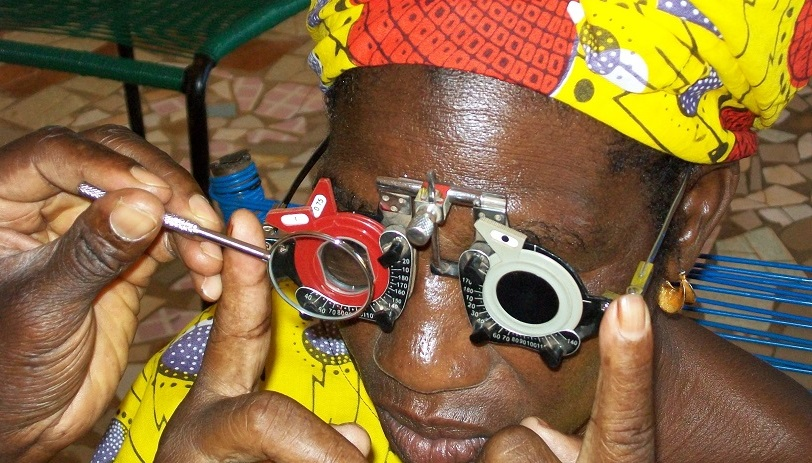 Woman undergoing an eye test