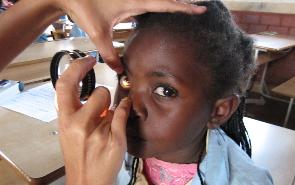 Girl's ocular testing in Mozambique