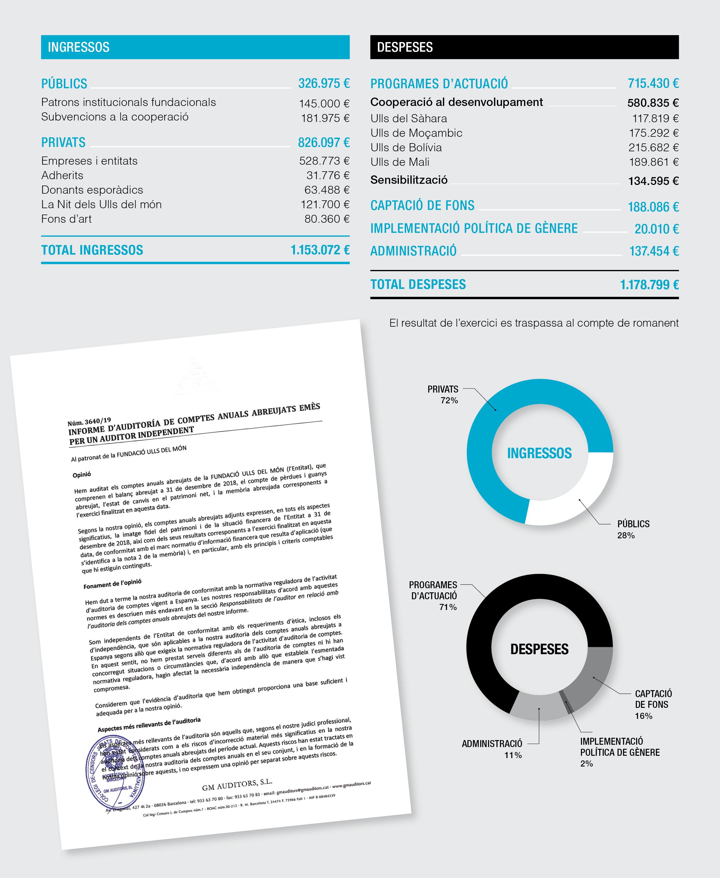 Comptes anuals 2018 de la Fundació Ulls del món