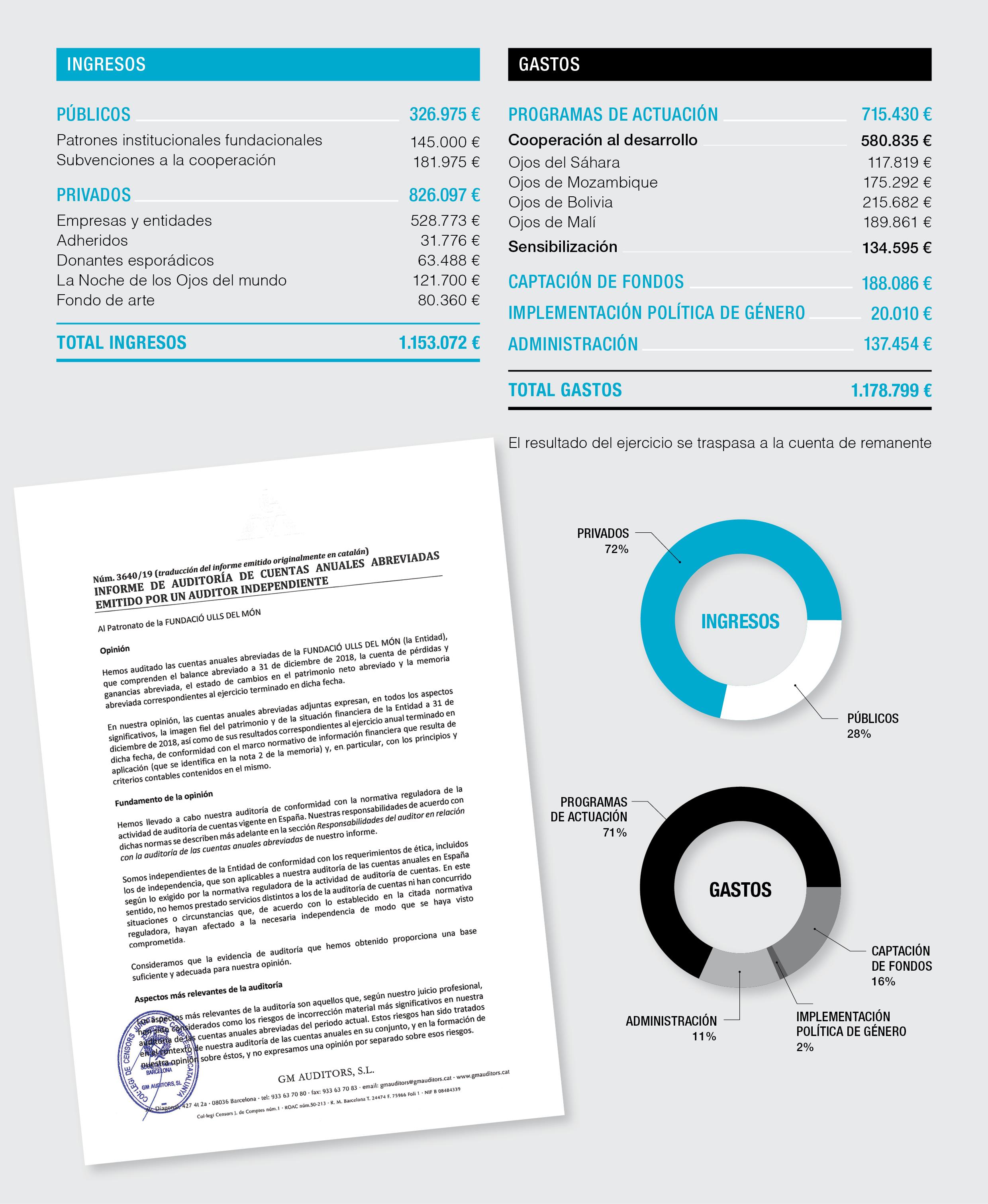 Cuentas anuales 2018 de la Fundación Ojos del mundo