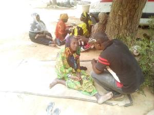 Eye examination of a woman in Mali